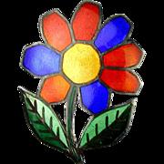 Vintage Colorful Enamel Siam Sterling Flower Pin Pendant