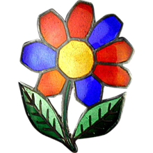 Vintage Colorful Enamel Siam Sterling Flower Pin Pendant