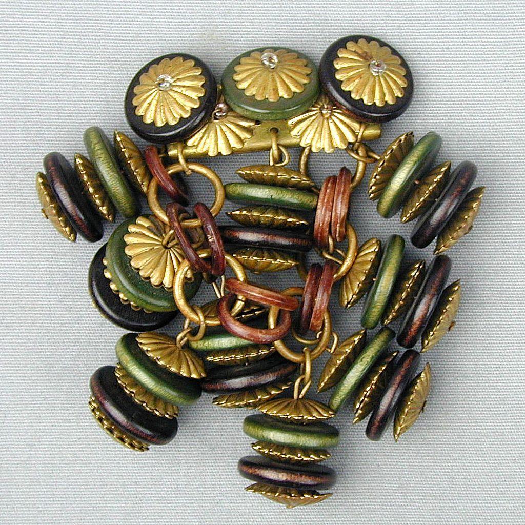 Art Deco Era Wood & Brass Dangles Pin Brooch
