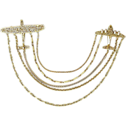 Two Airplanes. Five Chains. One Huge Chatelaine Pin Brooch