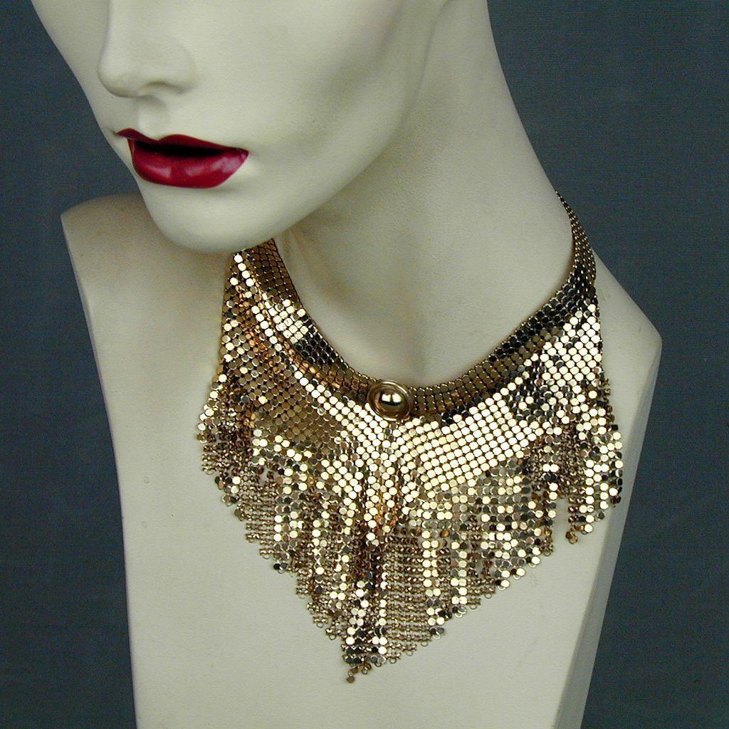 Vintage Gold-Tone Mesh Dangles Necklace Bib
