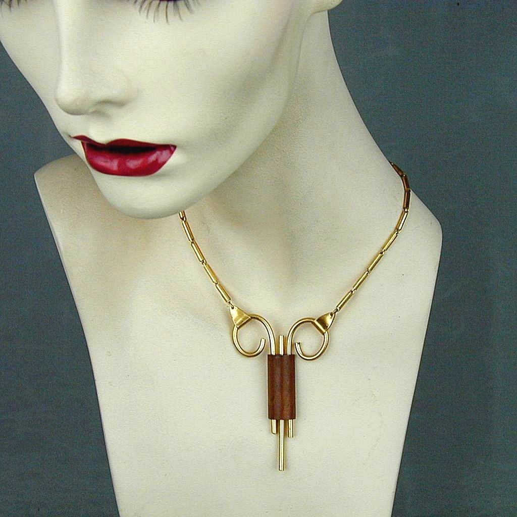 Modernist Metal & Wood Oddball Necklace - Art Deco