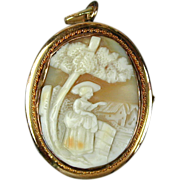 Old Gold-Filled Carved Shell Cameo Pin Pendant Waving Lady