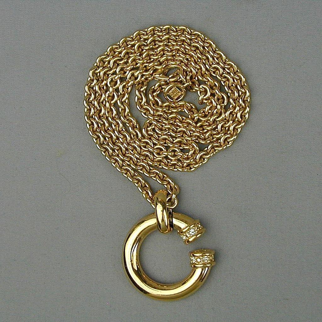 Vintage GIVENCHY Chunky Goldtone Logo Pendant Necklace