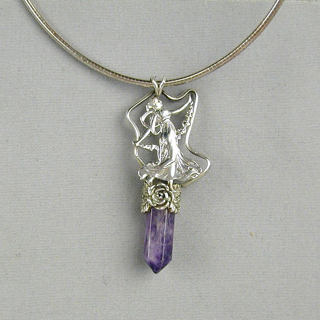 Vintage Sterling Silver Amethyst Crystal FAIRY Pendant Necklace