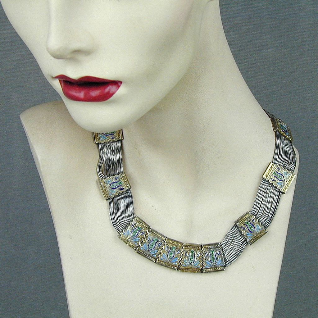 Old Exotic Byzantine Necklace Signed Sterling Silver Enamel