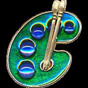 Vintage FLORENZA Artist Palette Pin Brooch w/ Jewels