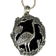 Sterling Silver Flamingo Onyx Necklace Pendant