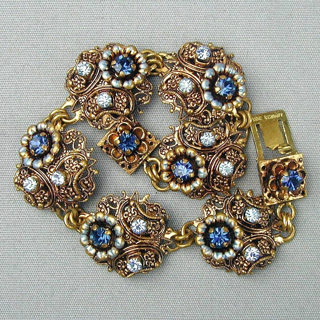 Old Gilded Filigree Jeweled Bracelet Germany So Pretty