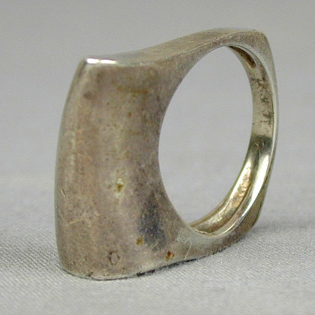 Modernist Sterling Silver ~ Folded ~ Ring - Signed PB