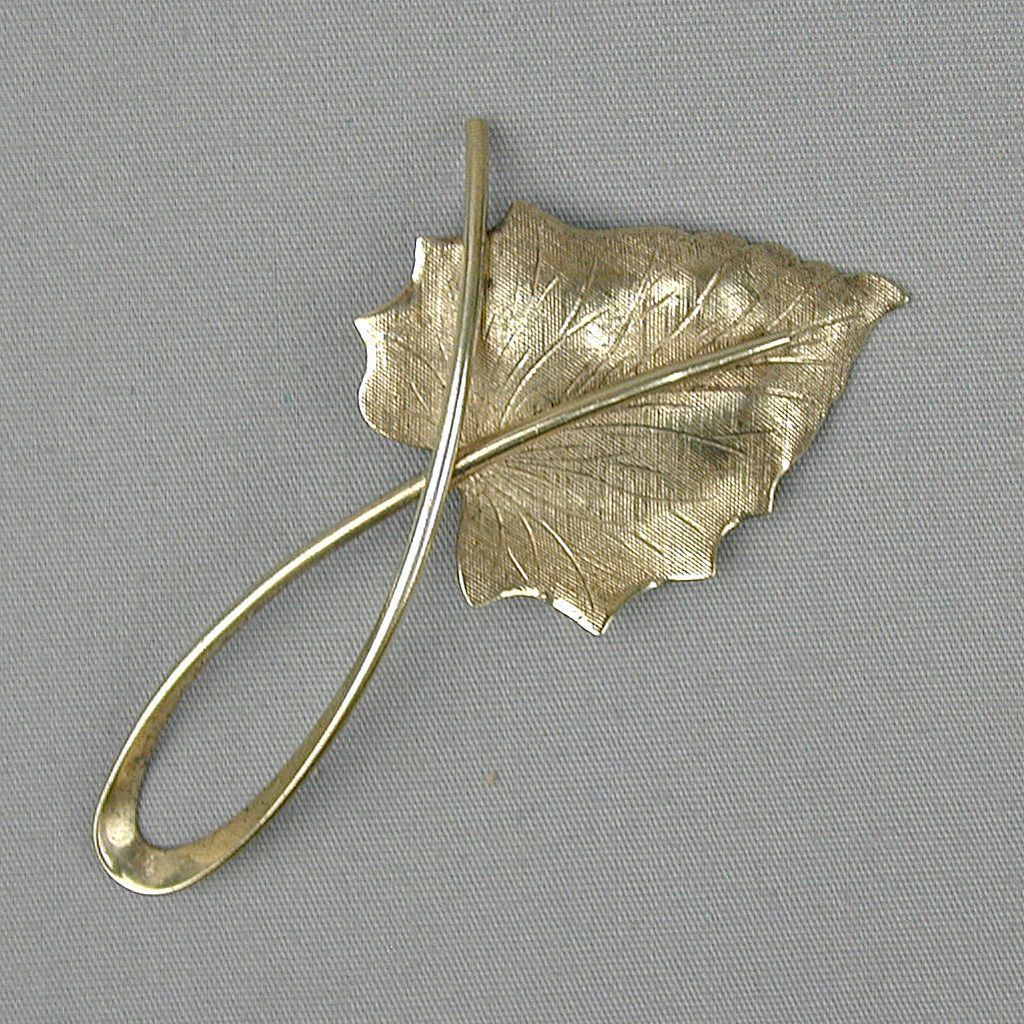 Modernist BEAU Sterling Silver Leaf Pin