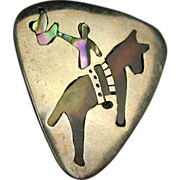 Signed Old Mexican Sterling Silver Pin Cowboy on Horse