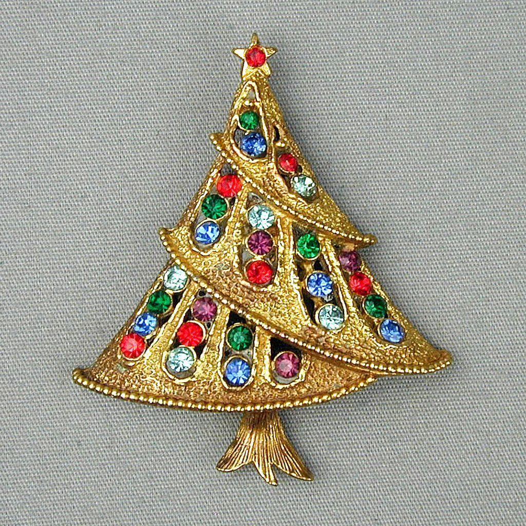 Vintage J.J. Rhinestone Christmas Tree Pin 1970s