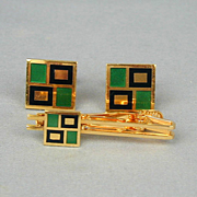 Modernist Mens Inlaid Enamel Cufflinks - Clasp Set in Original Box