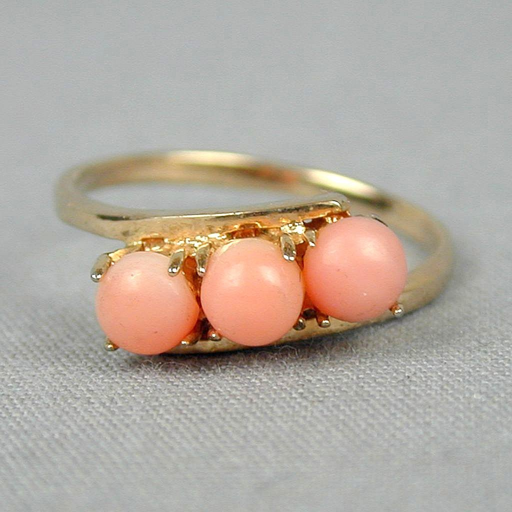 Vintage Ring - Real Angel Skin Coral in Faux Gold