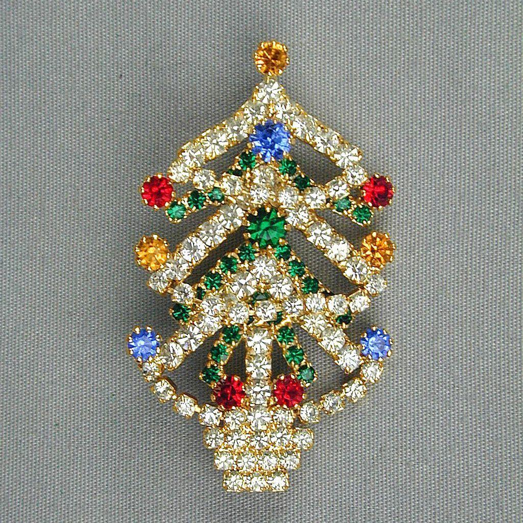 Sparkly Vintage Austrian Crystal Christmas Tree Pin