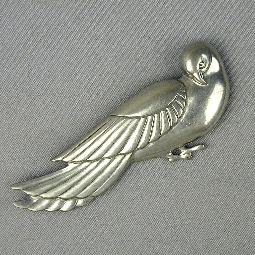 Big Modernist Stylized Dove Bird Pin Brooch
