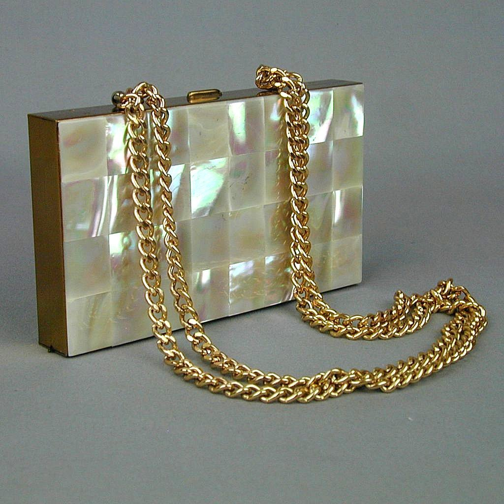 Vintage Mother-of-Pearl Compact All-In-One Evening Purse