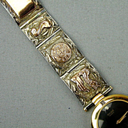 Etched Mexican Sterling Silver - 14K Gold Watchband on Pulsar Watch