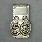 Old Etched Sterling Silver Money Clip - Exotic Birds