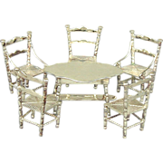 Old Dutch Silver Miniature Table & Chairs Set Hendrik Hooykaas