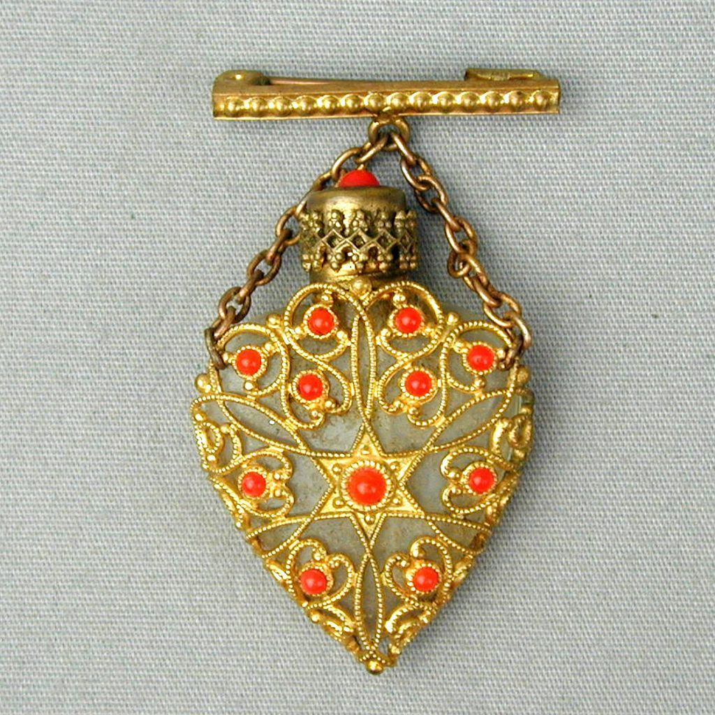 Vintage Miniature Perfume Bottle Brooch Pin Glass & Filigree