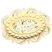 Victorian Hand-Carved Bone Name Pin ~ TILLIE ~