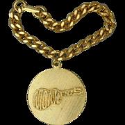 Original 1960s MONKEES Goldtone Disk Charm Bracelet