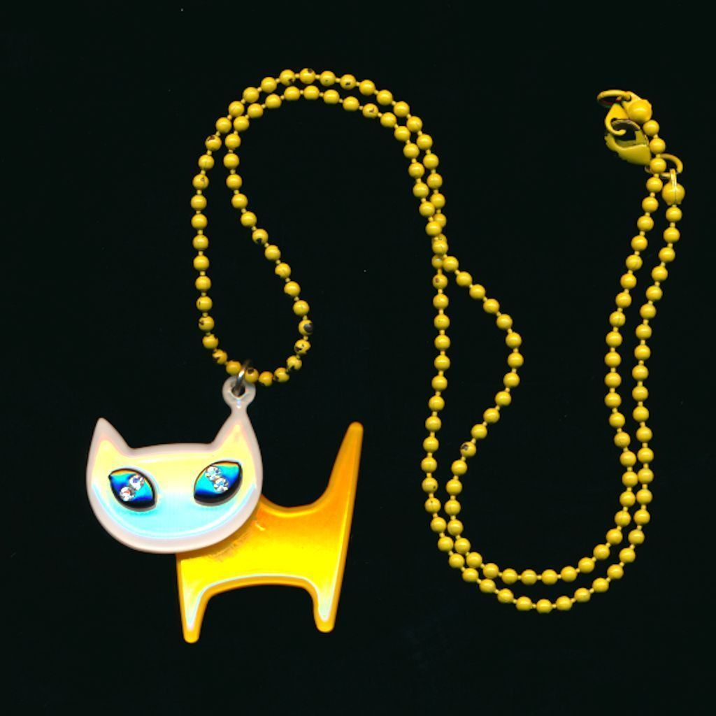 Modernist Lucite Laminate CAT Pendant Stylized Necklace