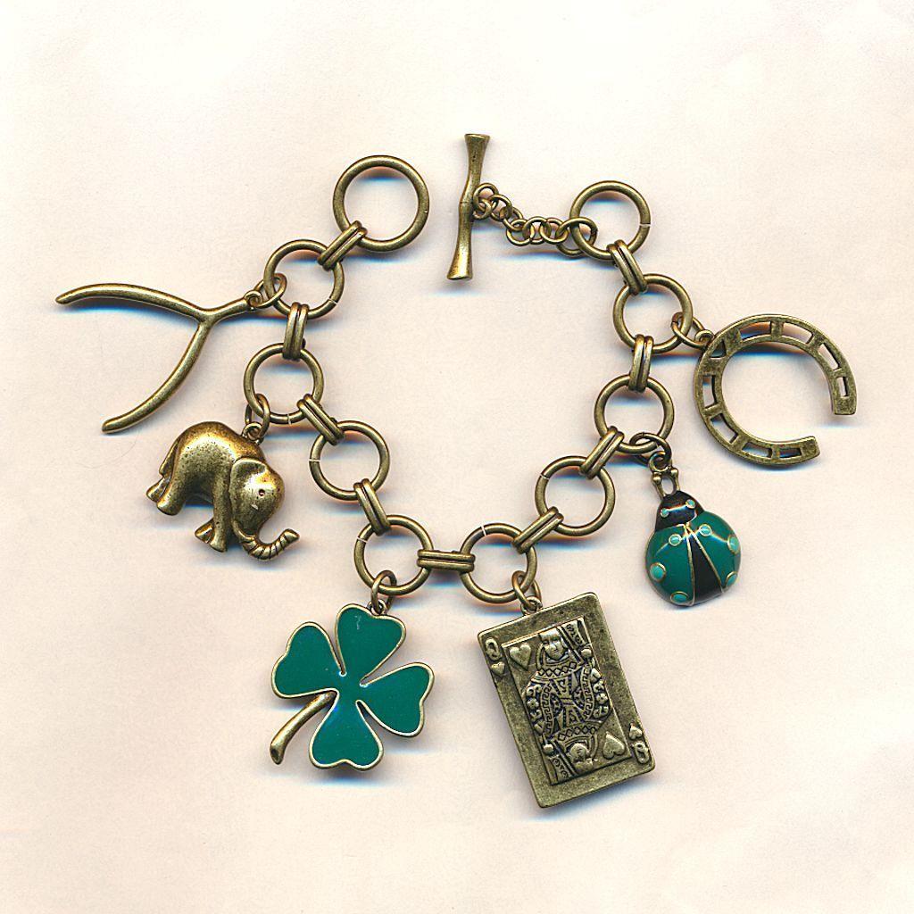 Vintage Chunky Lucky Charm Bracelet Charms