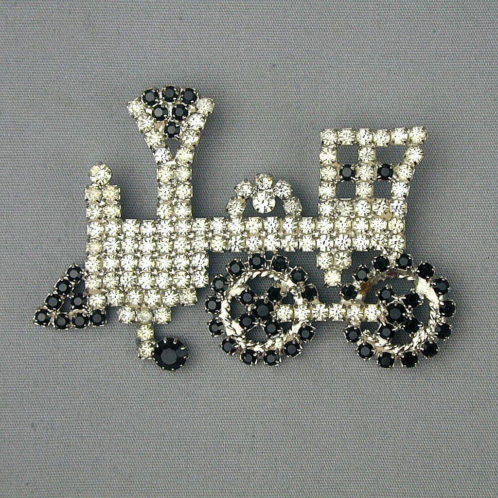 Vintage Rhinestone TRAIN Pin Brooch - Black / White Crystal