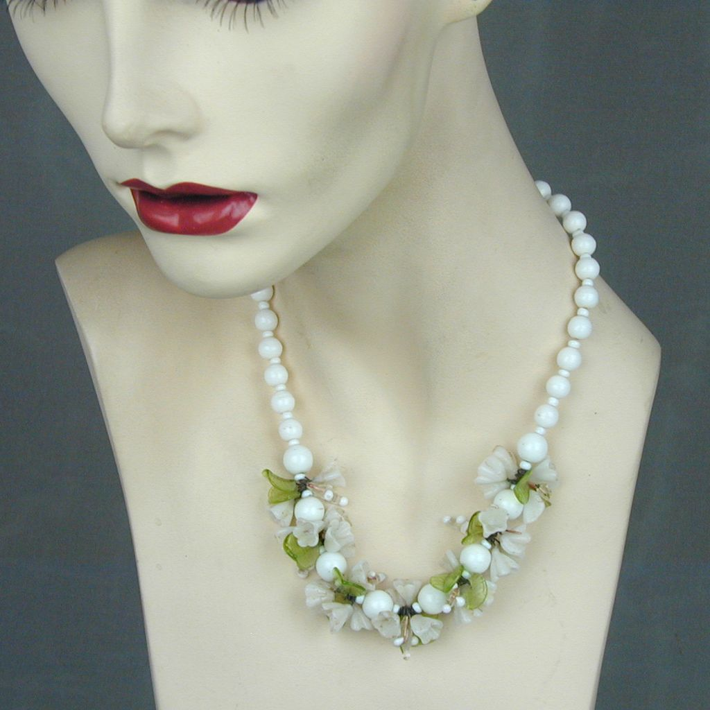 Old Molded Glass Flowers & White Beads Necklace Germany