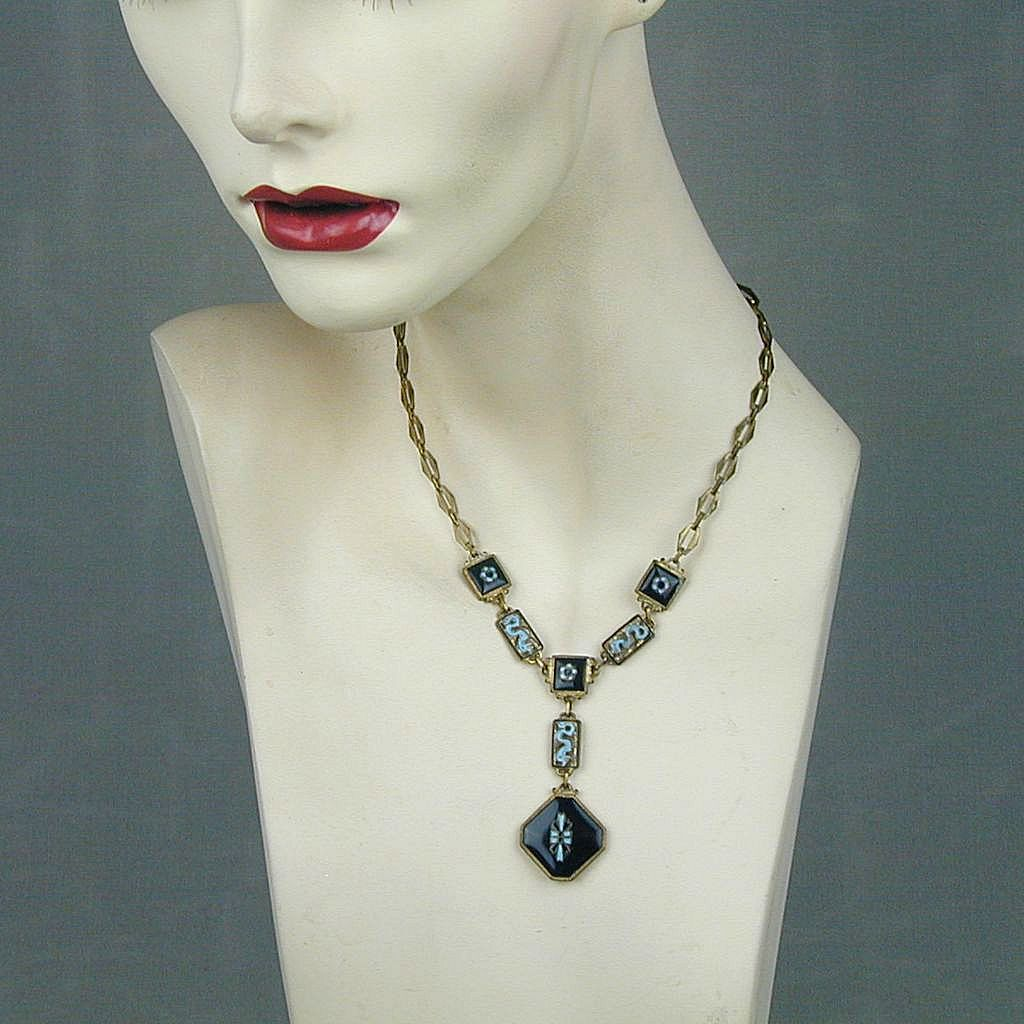 Vintage 1920s Art Deco Enamel Necklace