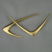 Modernist 14K Gold Double Boomerang Pin by Ed Wiener
