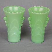 Pair Art Deco Jadeite Vases Anchor Hocking Green Glass