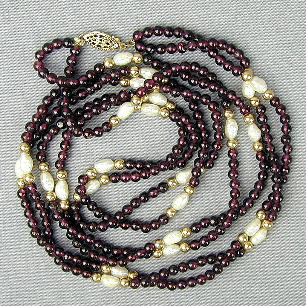 Two Strand Necklace Garnets ~ Freshwater Pearls ~ Gold-Filled Beads
