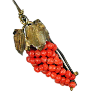 Victorian Red Coral Grapes Pin - 800 Silver - Vermeil