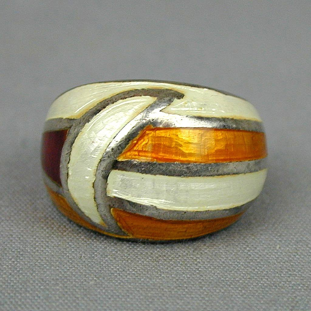 Vintage Signed ~ SD ~ Enamel Sterling Silver Ring