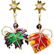 Vintage Lunch at the Ritz Mismatched Leaf Earrings Enamel