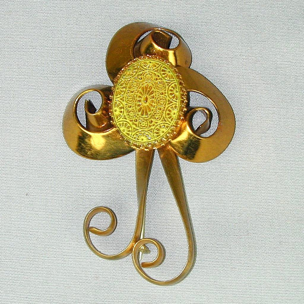 Big Art Deco Stylized Flower Pin w/ Czech Glass