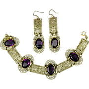 Vintage Brass Filigree Amethyst Glass Bracelet Earrings Set