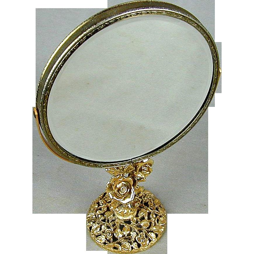 Vintage Matson Ormolu Vanity Mirror 2 Face Swivel Roses Greatvintagestuff Ruby Lane