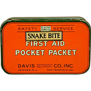 Vintage Snake Bite First Aid Pocket Packet c1920s Litho Tin