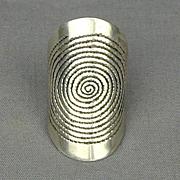 Modernist Sterling Silver MAZE Ring Euro Hallmark
