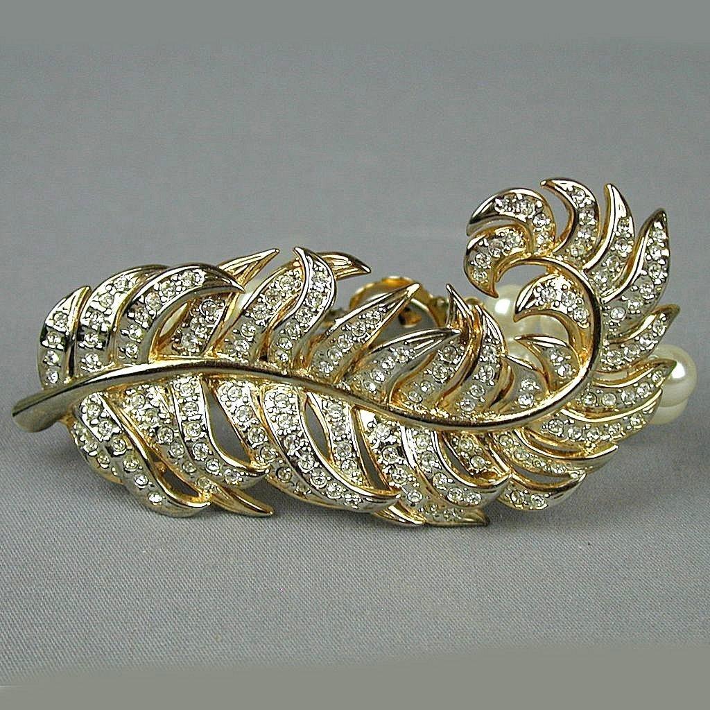 Signed VATINO Lavish Rhinestone Faux Pearl Bracelet