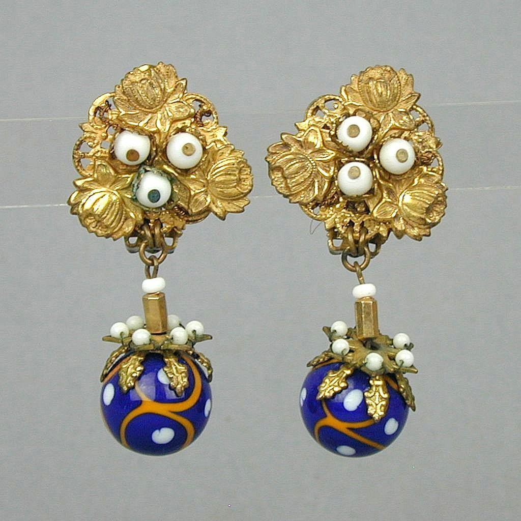 Great Old Haskell Style Earrings - Art Glass Beads Gilt
