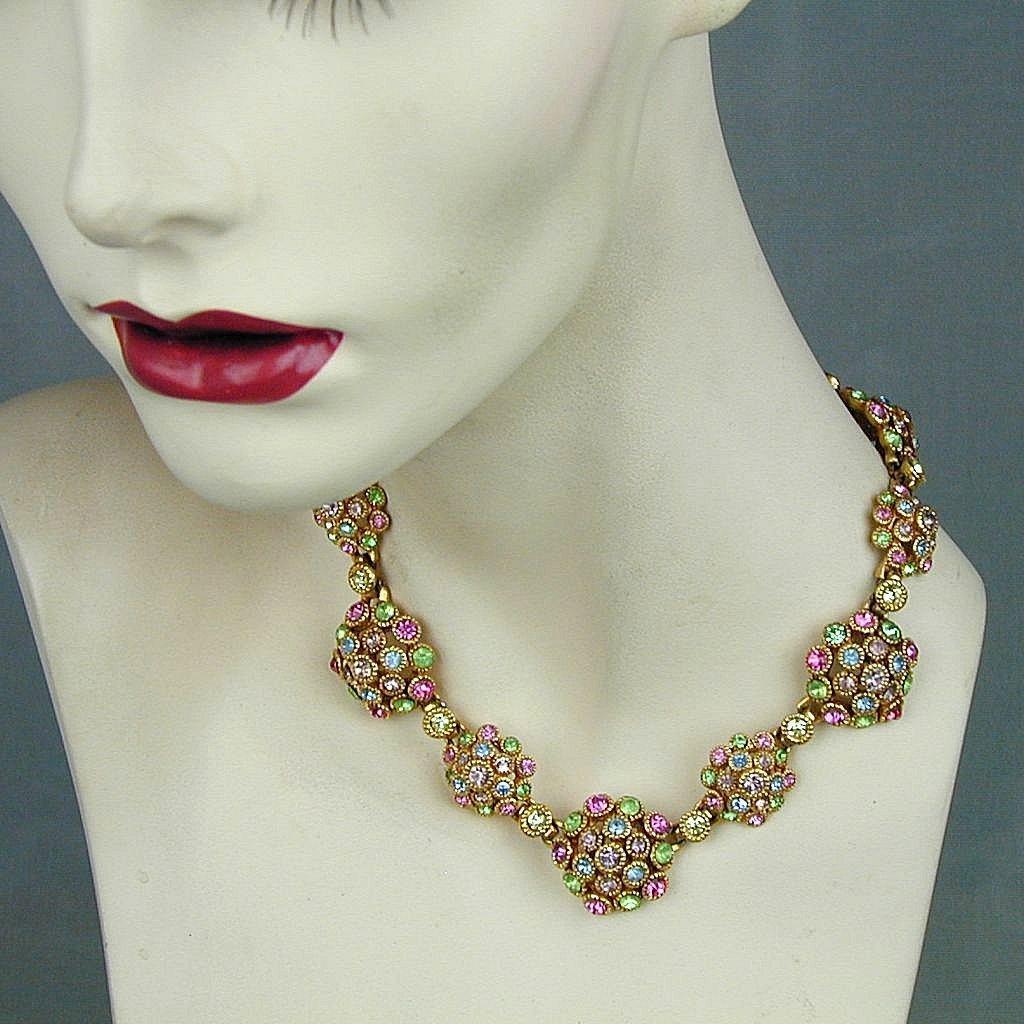 Colorful Vintage Pastel Crystal Rhinestone Necklace