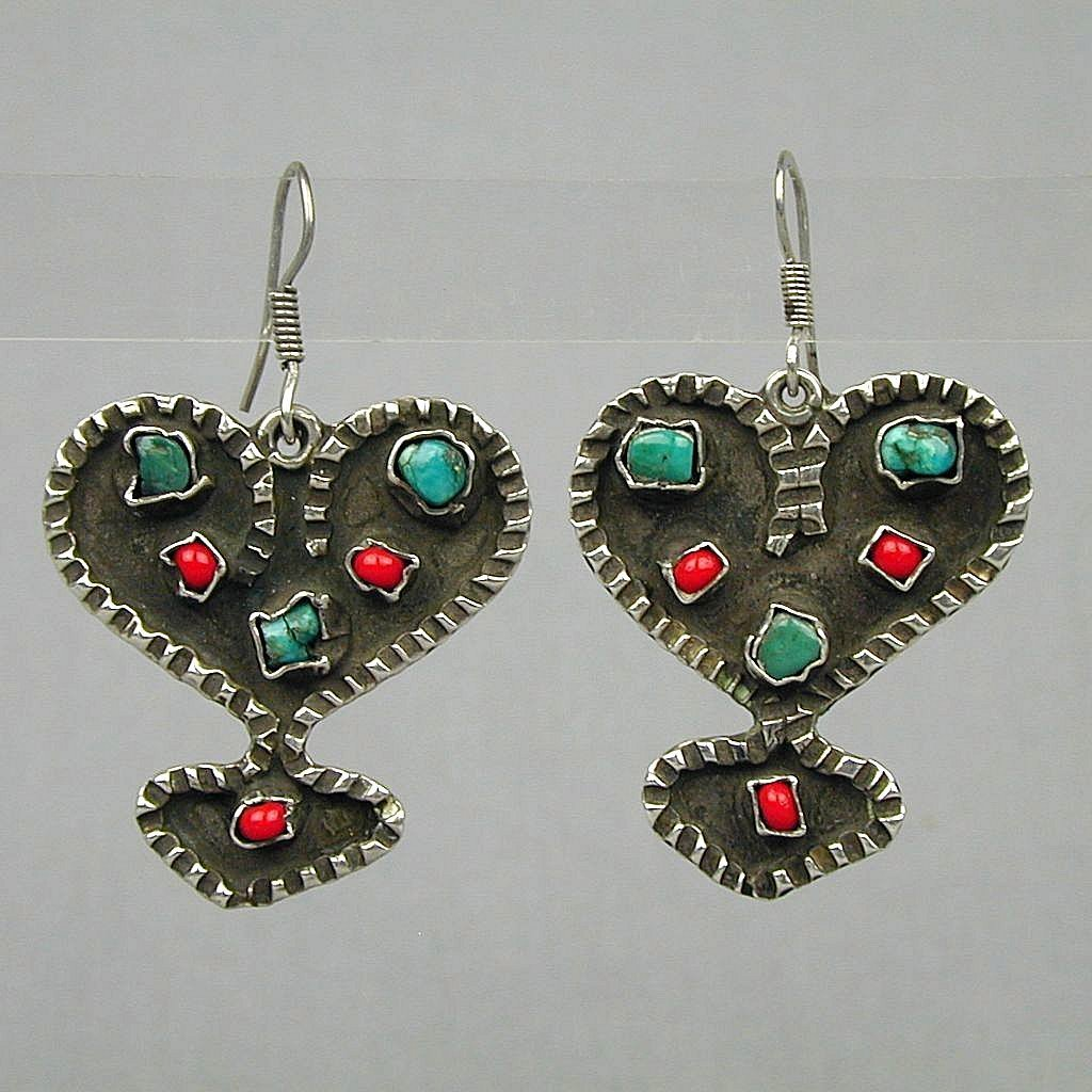 Vintage Taxco Sterling Silver Turquoise Coral Earrings