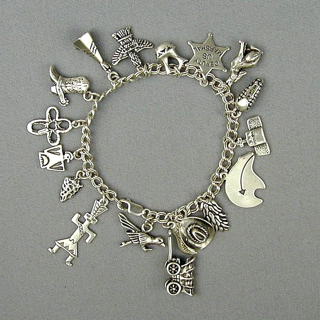 Western Native American Sterling Silver Charm Bracelet