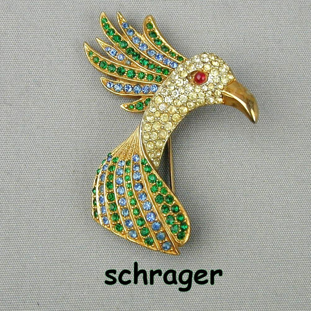 1940s SCHRAGER Rare Rhinestone Bird Head Pin Brooch
